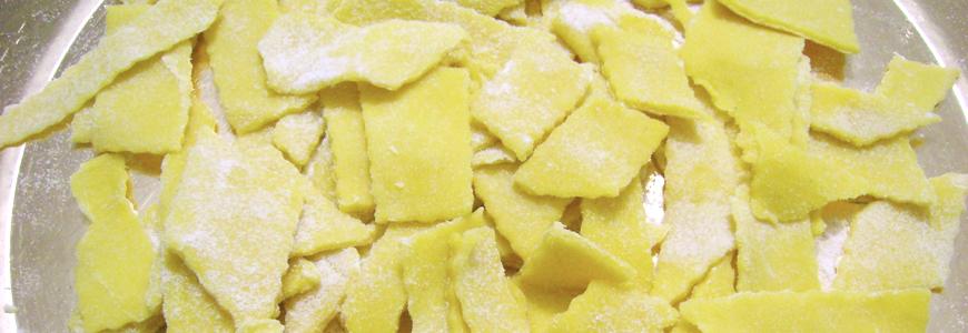 Maltagliati con formaggio stagionato in fossa